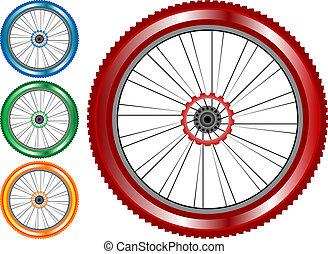 gördít, bicikli, állhatatos, színezett, autógumi, elszigetelt, háttér., vektor, fokok, fehér