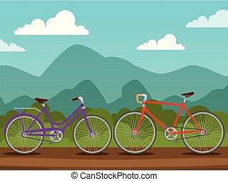 gördít, bicycles, tervezés, szállít, lánc