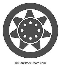 gördít, háló, mód, vektor, 10., autógumi, szilárd, autó, elszigetelt, ábra, eps, app., rész, tervezett, white., autó, icon., tervezés, glyph