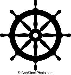 gördít, hajó, kormányzó, ikon