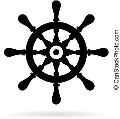 gördít, hajó, vektor, kormányzó, ikon