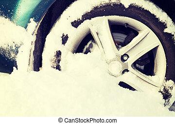 gördít, megragadt, closeup, hó, autó