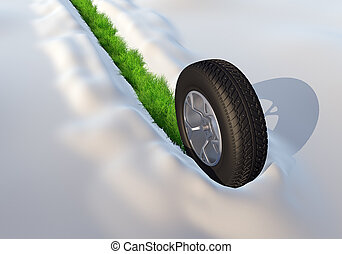 gördít, noha, tél, autógumi, haladó, át, a, hó, kilépő, a, zöld fű, útvonal