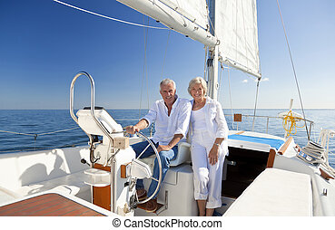 gördít, párosít, vitorlázik, idősebb ember, csónakázik, boldog