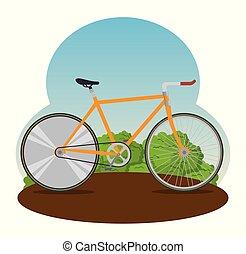 gördít, tervezés, bicikli, szállít, lánc