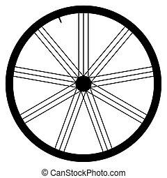 gördít, vektor, -, ábra, bicikli, háttér, fehér