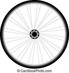gördít, vektor, -, bicikli, háttér, fehér