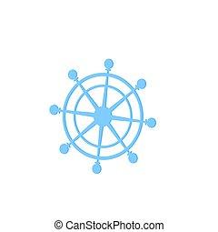 gördít, vektor, icon., tengeri, hajó, kormányzó, helm.