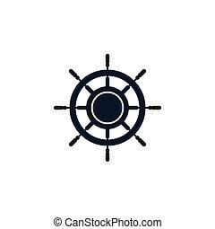 gördít, vektor, tervezés, sablon, jel, hajó, ikon
