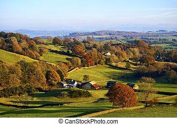 gördülő, vidéki táj, ősz, angol