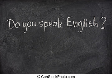 gør, du, tal, engelsk, spørgsmål, på, en, sort vægtavle