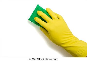 gąbka, lateksowa rękawiczka