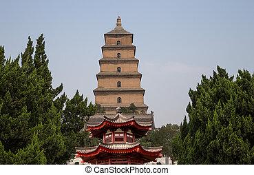 gęś, olbrzym, albo, (sian, cielna, buddysta, południowy, prowincja, pagoda, umieszczony, porcelana, pagoda, dziki, xian, xi'an), shaanxi