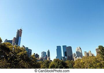 główny, sylwetka na tle nieba, park, york, nowy