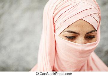 głęboki, kobieta, myśli, muslim