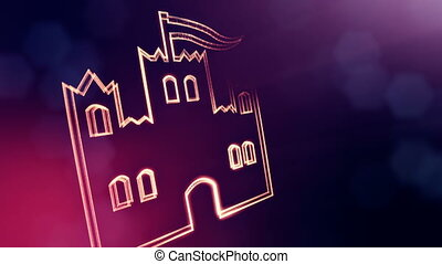 głębokość, kopia, tło, ikona, 3, vitrtual, seamless, space., castle., cząstki, robiony, bokeh, tłumaczenie, pole, fiołek, hologram., 3d ożywienie, ogień