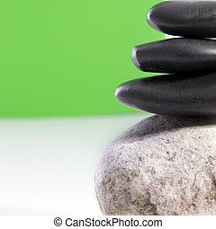 gładki, czarnoskóry, zdrój, kamienie