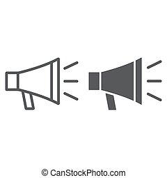 głośnik, 10., linearny, znak, próbka, eps, na, kontakt, bullhorn, wektor, grafika, ikona, kreska, megafon, białe tło, glyph