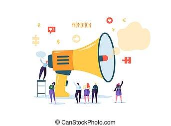 głośnik, tłum., płaski, litery, handlowy zaludniają, cielna, concept., ilustracja, mówiąc, wektor, reklama, reklama, handel, megafon, promotion.
