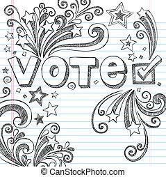 głos, doodles, wybór, prezydencki