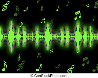 głos falistość, tło, widać, odgłos, analizator, albo, widmo