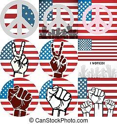 głos, sztuka, usa, szpilka, bandera