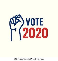 głosowanie, 2020, ikona, z, głos, rząd, &, patriotyczny, symbolizm, i, kolor