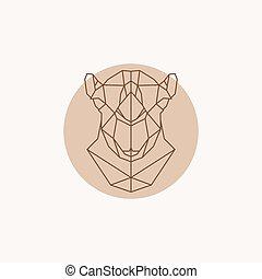 głowa, camel., ilustracja, geometryczny