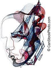 głowa, cyfrowy, rozwój, wektor, potok, dusza, illustration., maszyna, futurystyczny, portret, piękny, kropkowany, robiony, software, modeluje, czas, techniczny, lines., machać, ludzki, cząstki