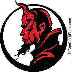 głowa, diabeł, illu, demon, wektor, maskotka