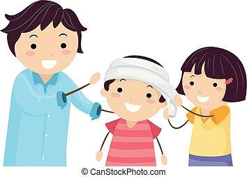 głowa, dzieciaki, stickman, bandażując, pomagać, nauczyciel, pierwszy