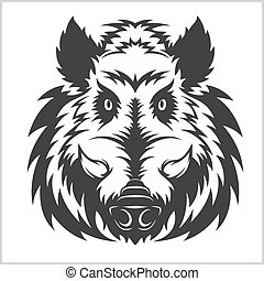 głowa, emblemat, dzik, logo, maskotka