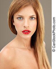 głowa i pcha, piękno, portret, blondynka, kobieta