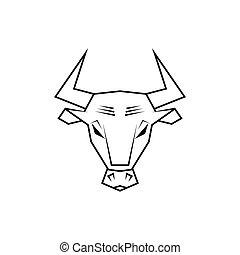 głowa, ilustracja, byk