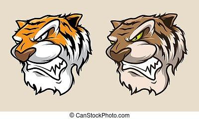 głowa, ilustracja, tiger, wektor, tiger., ryk, maskotka