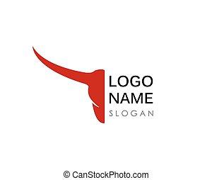 głowa, ilustracja, wektor, projektować, byk, logo, ikona