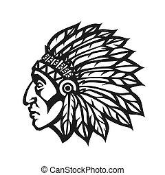 głowa, indianin, profile., amerykanka, ilustracja, szef, wektor, krajowiec, zaprzęg zabawa, logo., maskotka