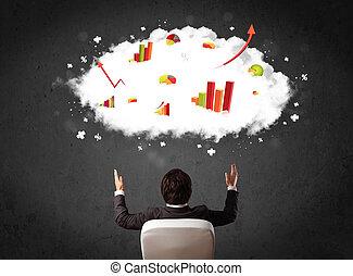 głowa, jego, wykresy, nad, biznesmen, chmura