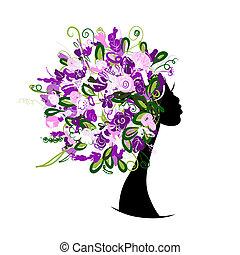 głowa, kobieta, fryzura, projektować, kwiatowy, twój