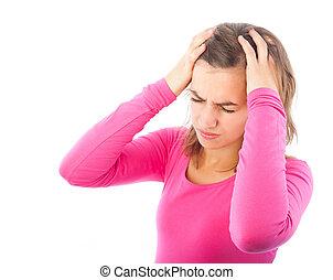 głowa, kobieta, jej, młody, wręczać dzierżawę, ból głowy
