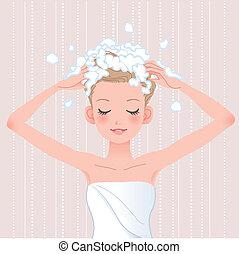 głowa, kobieta, myć, jej, szampon, młody