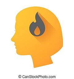 głowa, kobieta, płomień, ikona