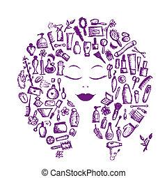 głowa, kobieta, pojęcie, kosmetyczny, przybory, projektować...