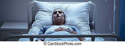 głowa, kobieta, samotny, fotografia, szpital, osłona, łóżko, dychając, leżący, chory, rura, szalik