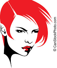 głowa, kobieta, stylista, ich, włosy, vector), (hair