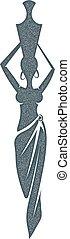 głowa, kobieta, sylwetka, dzbanek, jej, plemienny, odizolowany, tło., wektor, african., biały, pień, style., illustration.