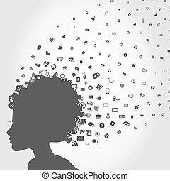 głowa, komputer, dziewczyna