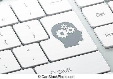 głowa, komputer, reklama, tło, klawiatura, concept:, mechanizmy