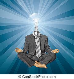 głowa, lotosowa poza, medytacja, lampa, wektor, biznesmen