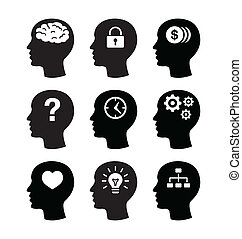 głowa, mózg, vecotr, ikony, komplet
